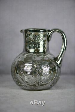 Art Nouveau Silver Overlay Water Pitcher 6 1/2 Tall Black Starr & Frost AS1582