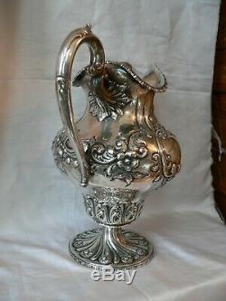 BAILEY BANKS & BIDDLE STERLING Silver WATER PITCHER Hand Chased monogrammed
