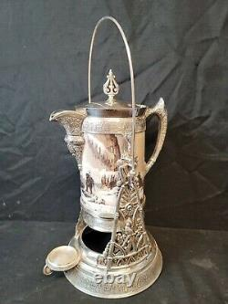 Baccarat Hand Painted Opaline Signed Simpson Hall & Miller Tilting Water Pitcher