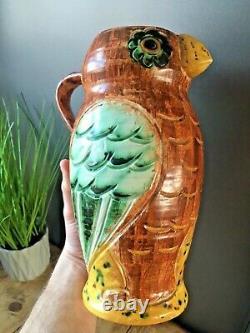 Beautiful Rare Hj Wood Ltd Pottery Owl Art Deco Water Jug Pitcher Vase Vintage