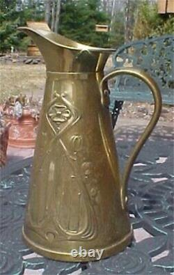 Circa 1900 Brass Water Jug Arts & Crafts Vintage Js&s Made In England