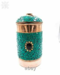 Decorative Copper Water Jug Pitcher 1500ml with Fine Stone Work Green
