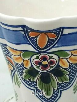 Delftse Pauw Polychrome Water Jug Pitcher Hand Painted Dutch Pottery Delftware
