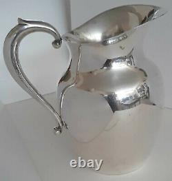 Elegant Sterling Silver Pitcher, vintage art deco style, for water, etc