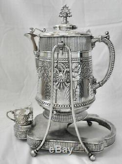 FABULOUS! Atq c1880s JAMES TUFTS #2342 Tilt Slv Plate Water Pitcher wStand +Cup