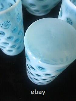 Fenton Blue Coin Dot Opalescent 7 Piece Water Set with Large Ice Lip Jug Pitcher