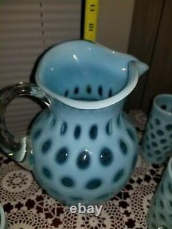 Fenton Blue Opalescent Coin Dot 5 Piece Water Set with Large Ice Lip Jug Pitcher
