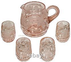 Fenton Diamond Optic Pink #1634 Wheel Cut Water Pitcher / Jug and 4 Tumblers