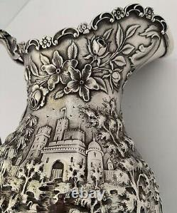 Fine Landscape Castle Chased Architectural Repousse Sterling Water Pitcher