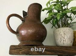 French Vintage Copper Water Jug Pitcher Large Beautiful hand made