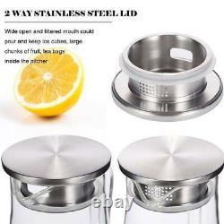 Glass Iced Tea Pitcher Heat Resistan Hot/Cold Water Jug Juice Beverage Carafe