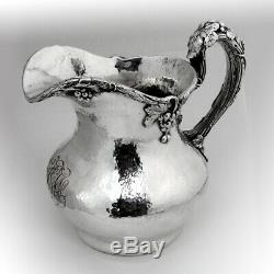 Gorham Grape Water Pitcher Hammered Sterling Silver 1905 Mono FGW