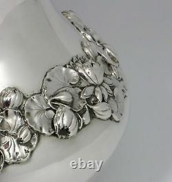 Gorham Sterling Silver Water Pitcher Water Lilies 1902 Date Mark