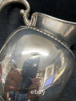 Gorham Sterling Water Pitcher Classic Form Chased Gadroon Edge