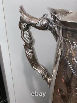 HALL ELTON Co. Silver Plate Insulated TILTING WATER COFFEE PITCHER Ornate 21