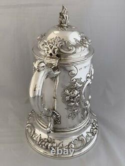 HUGE 3 PINT Victorian Beer Jug 1863 London Robert Harper Sterling Water Jug