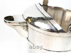Hand Beaten Lebolt Arts & Crafts Sterling 3 Pint Swing Handled Water Pitcher