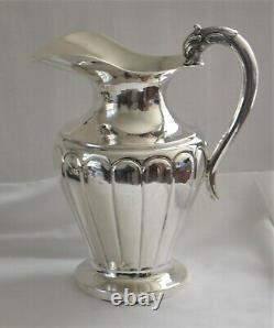 Hand-Crafted Sterling Silver (95% Silver) Japanese Dolphin Handle Water Pitcher