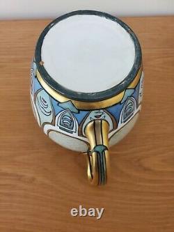 Hand Painted Gold Spirals Antique Art Noveau Signed Water Jug Pitcher