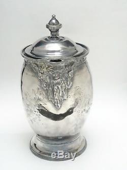 IMPRESSIVE c. 1868 ORNATE MERIDEN BRITANNIA CO. CERAMIC LINER ICE WATER PITCHER