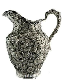 Incredible Sterling A. G. SCHULTZ & CO Water Pitcher REPOUSSE chased florals
