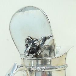 Italian SOLID SILVER Glass Lined Thermos Water Jug Pitcher. 800 9 1/2 3 of 3