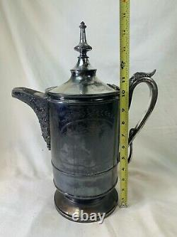 JAS. STIMPSON Silver Plate Ice Water Pitcher Ceramic Liner 1868 Victorian 499