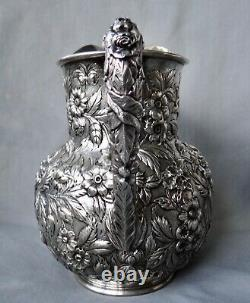Kirk Repousse Sterling Silver Water Pitcher 28.3 Oz 8 1/2 Hand Wrought