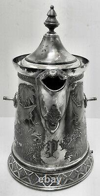 LOVELY ANTIQUE! Circa 1890s Slv Plate WILCOX SILVER CO TILT WATER PITCHER +STAND