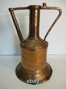 Large 14 Antique Copper Water Jug Pitcher Stamped Sun Hammered Handmade