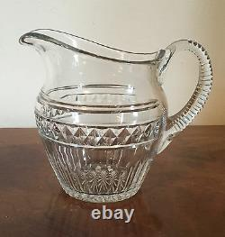 Large Antique Anglo Irish Cut Glass Crystal Water Pitcher Milk Jug