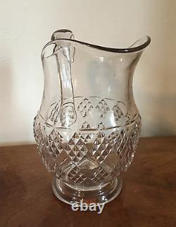 Large Antique EAPG Glass Water Pitcher Milk Jug American Diamond Pattern 19th c