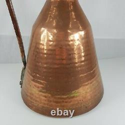 Large Antique Rustic Copper Water Jug / Pitcher 50cm High