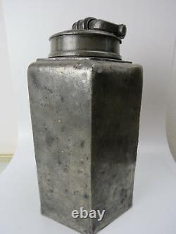 Large tall ANTIQUE PEWTER COLD WATER CONTAINER HEXAGONAL Jug carrying container