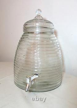 Large vintage beehive shaped glass water pitcher drink bar dispenser jug