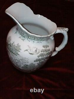 M&m Ye Old Blue Willow Green Willow Water Pitcher Jug