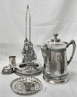 MAGNIFICENT! Atq MERIDEN Slv Plate Tilt Coffee Water Pitcher Stand Cup Drip Dish