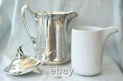 Massive Antique Reed & Barton Iced Water Ice Skating Boy Silver Plate Pitcher