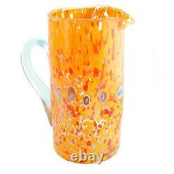 Murano Glass Water Jug Orange Red White Bottle Carafe Pitcher Art Millefiori