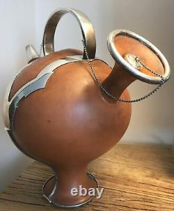 Portuguese Pottery Sterling Silver Water Jug L. TITULO AND LEITAO Arts & Crafts