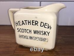 RARE HEATHER DEW SCOTCH WHISKEY MITCHELL BROs GLASGOW ADVERTISING PUB WATER JUG