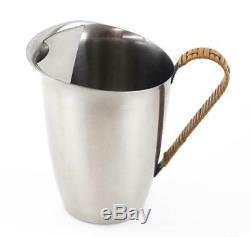 RARE VINTAGE STELTON DANISH STAINLESS BASKET WEAVE WATER PITCHER JUG With ICE LIP