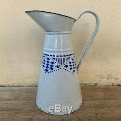 RARE Vintage French Enamel pitcher jug water enameled white blue 09041918