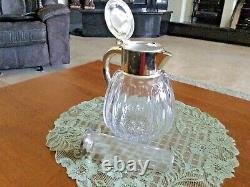 Rare 1940's German Silver Plate and Cut Crystal Ice Water Pitcher by Quist