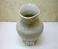 Rare Antique Salt Glaze Stoneware Art Pottery Water Pitcher Ewer Jug Exc