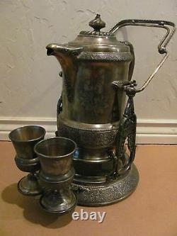 Rare Antique Wilcox Quadruple Plate Silver Tilting Cold Water Pitcher & 2 Goblet