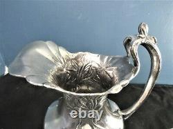 Rare Art Nouveau Silver Plate Water Pitcher And Cup