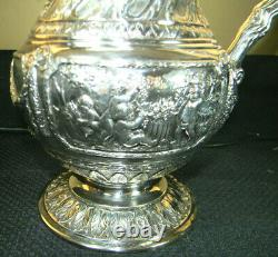 Rare German 800 Silver Fancy Over The Top Repousse Cherubs 10 Water Pitcher