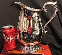 Rare Marked Bullocks Wilshire Large Baluster Sterling Silver Water Pitcher, Jug