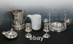 Rare Reed & Barton c1879 Silverplate Lemonade Ice Water Tilting Pitcher w 2 Cups